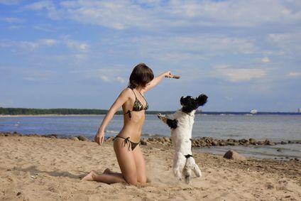 Ragazza con un cane sulla spiaggia